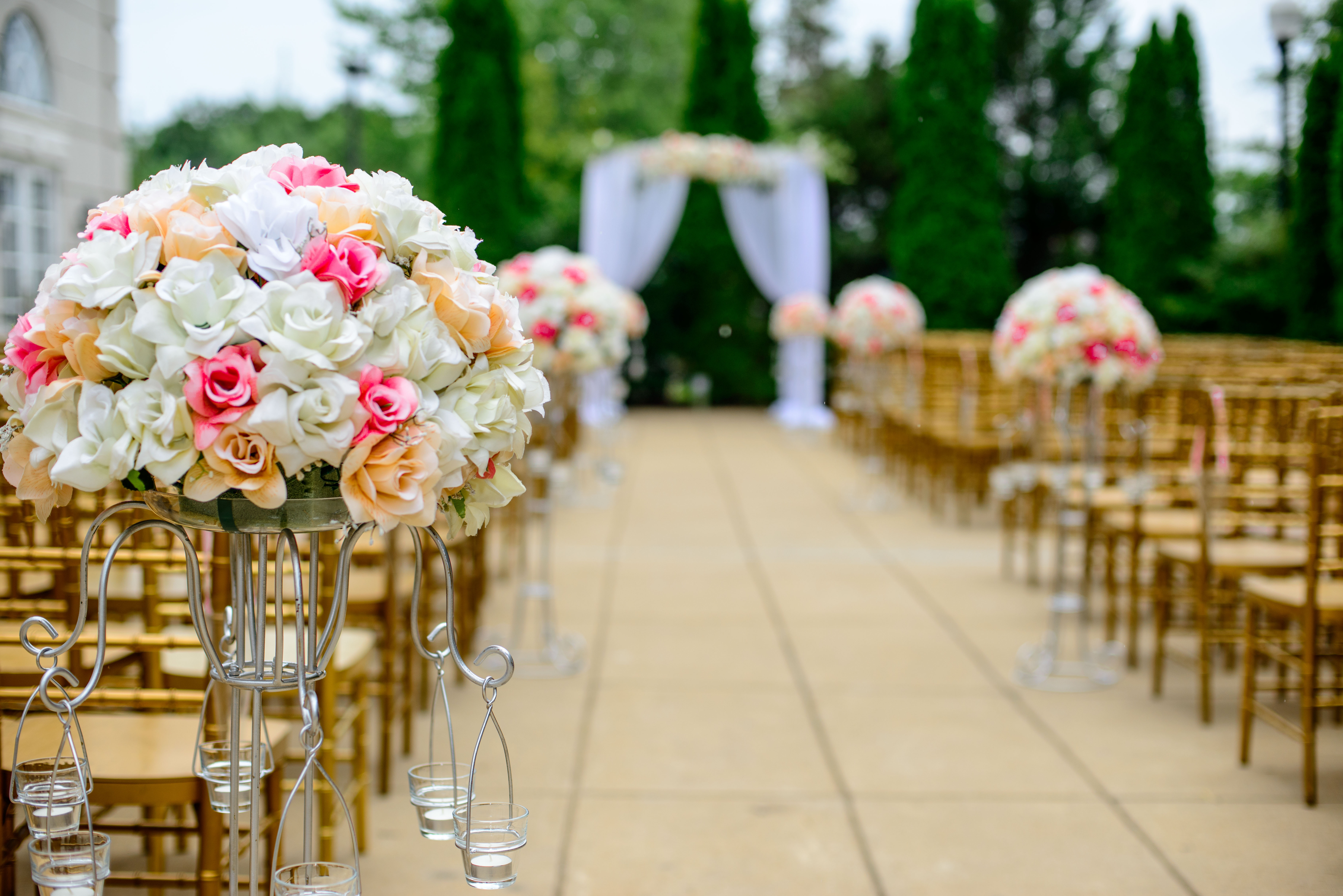 wedding decor on the aisle